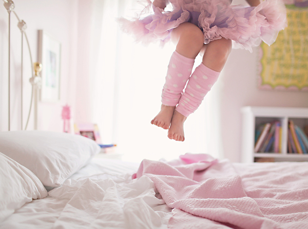 girl in tutu jumping on bed picture by Tara Shaia Photography