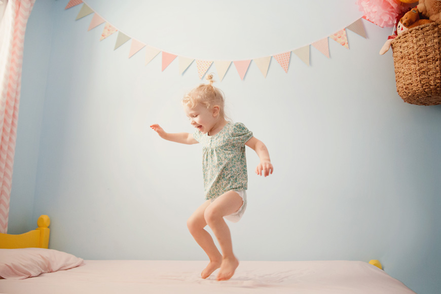 toddler girl jumping on bed picture by Heidi Neufeld