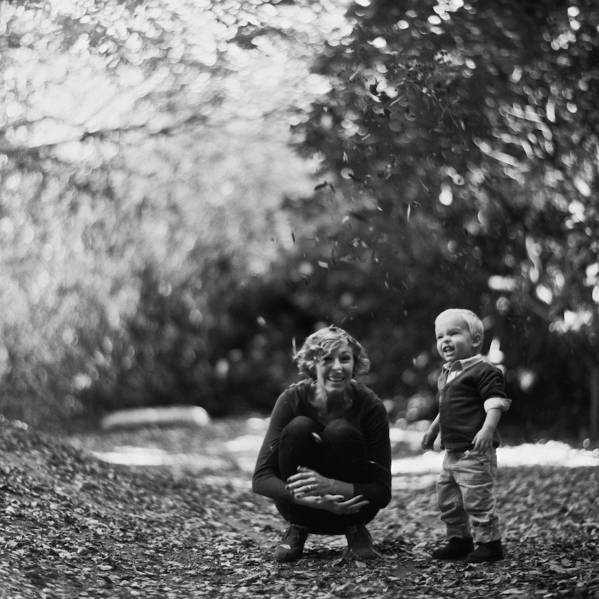 brothers wright's black and white film image of mom and son