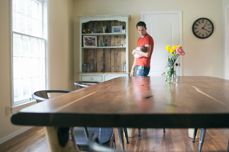 allison corrin's image of dad and boy in dining room