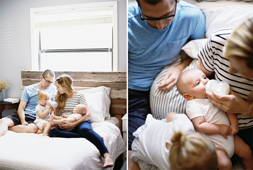 family of four sitting on bed pic by film photographer mi amore foto