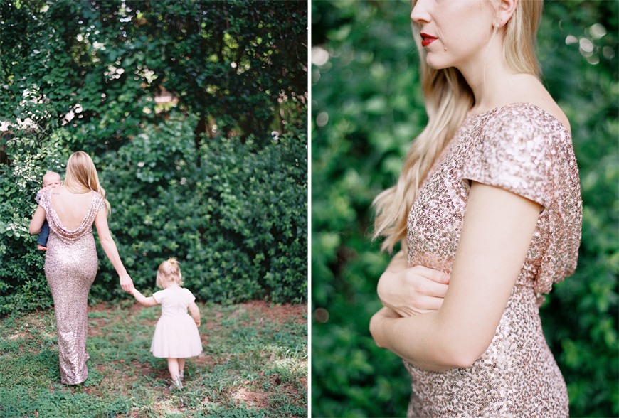 mom in sparkly gold dress photo with kids by tallahassee family photo mi amore foto