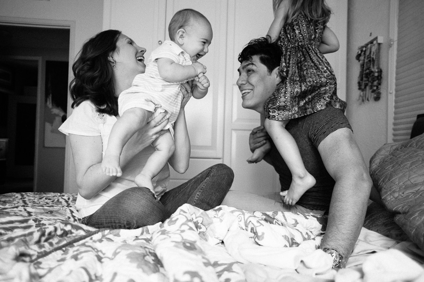 Gorgeous black and white image of family at home by photographer Christine Sargologos-3