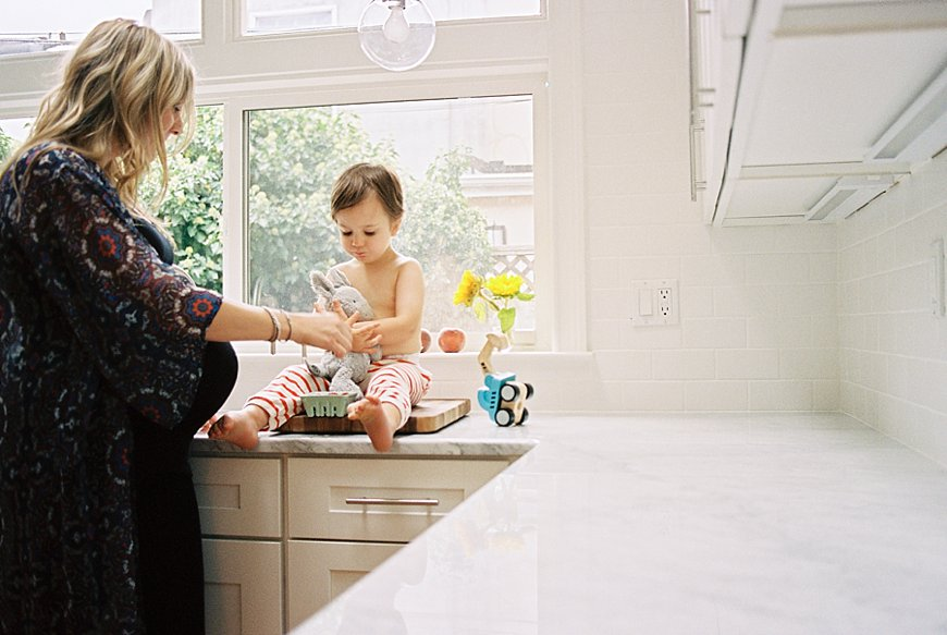 meghan boyer's photo of mom and son in kitchen on counter
