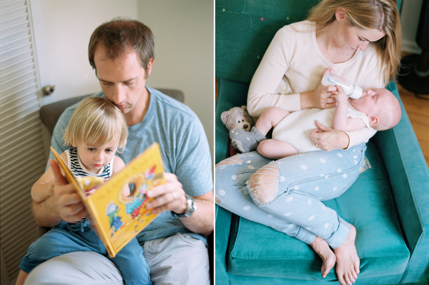 kauai photographer rachel thurston's portrait of parents reading and snuggling kids