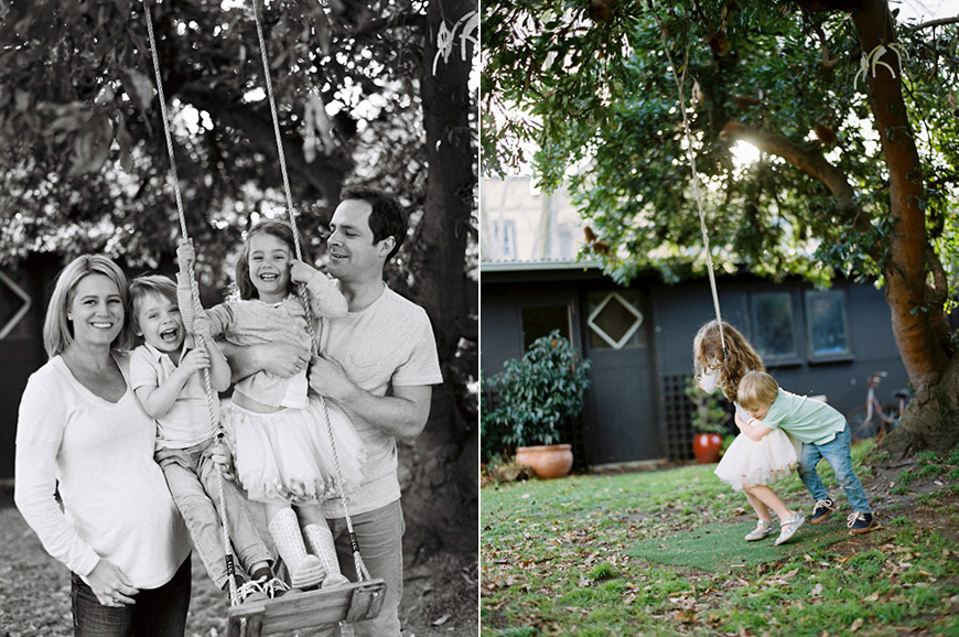 family portrait in black and white on swing by austalia photographer sarah black