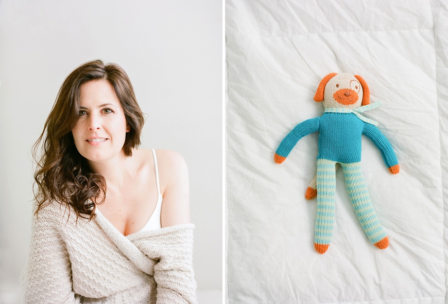 gorete ferreira photography's picture of mom next to newborn knit blue striped toy