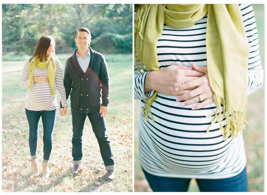 gorgeous sunshiney happy maternity photo with mom to be in striped shirt with green scarf by photographer abby kail