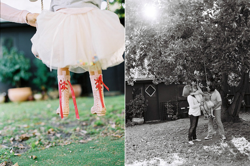 high pink boots with red laces on swing and family on swing by photographer sarah black