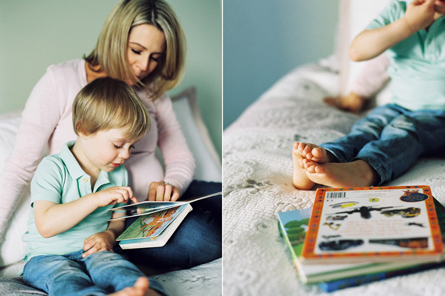 mom and son reading together at home image by photographer sarah black