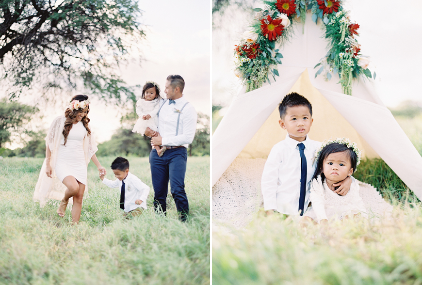family pictures in a field by Hawaii photographer Alisa Greig