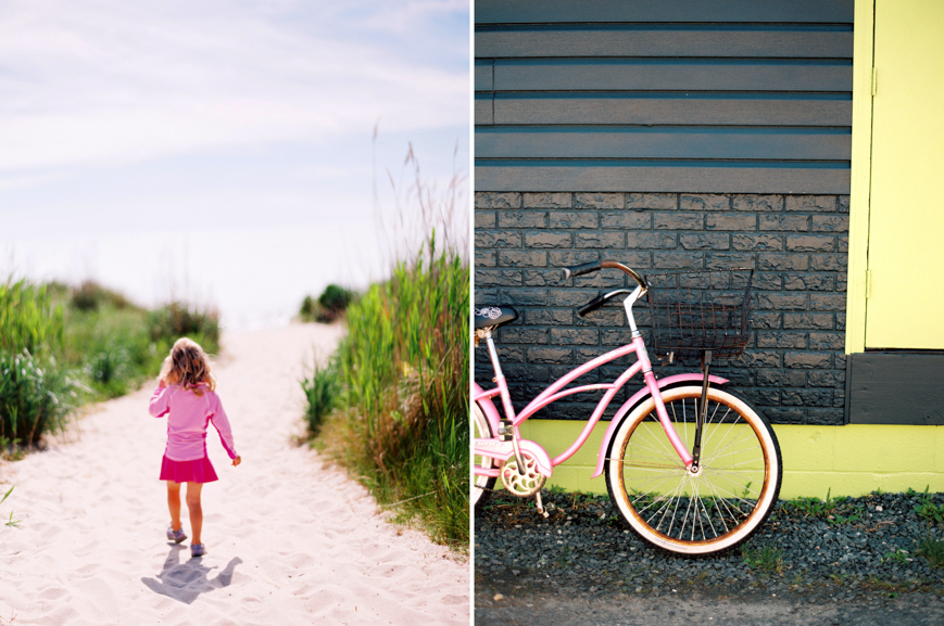 film image in bright colors of girl in pink and pink bike at beach by photographer erin hughes