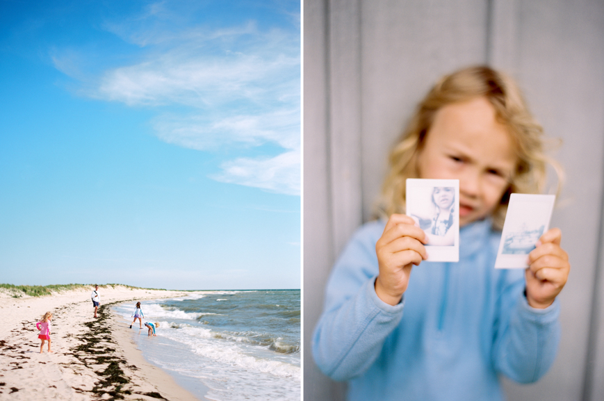 portra 400 film shot of kids at beach with polaroids by photographer erin hughes
