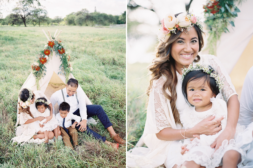 stylized family portraits with a teepee by Hawaii film photographer Alisa Greig