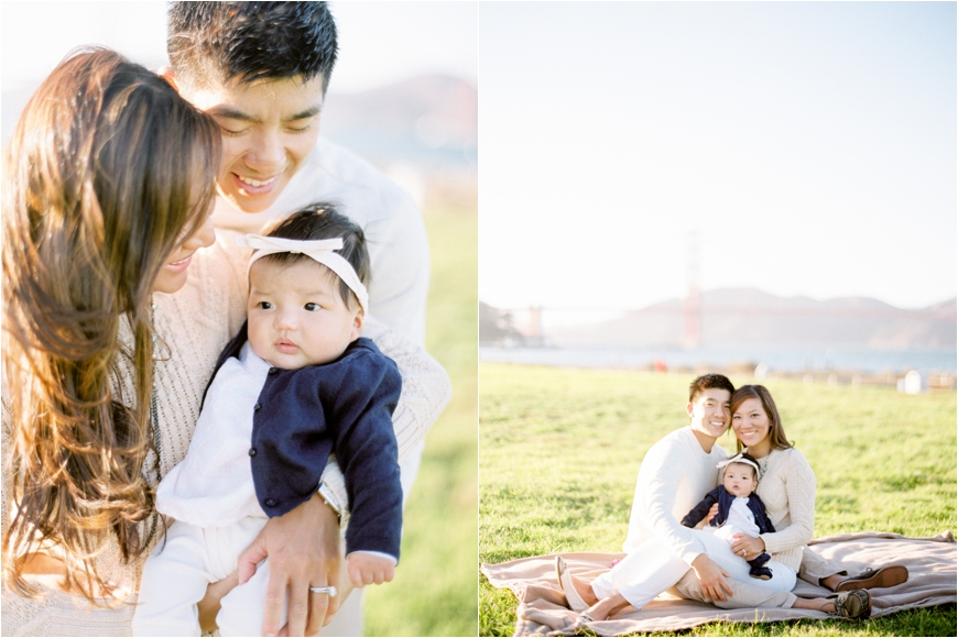 california family photographer coco tran gorgeous images of family wearing white next to san francisco bay with baby