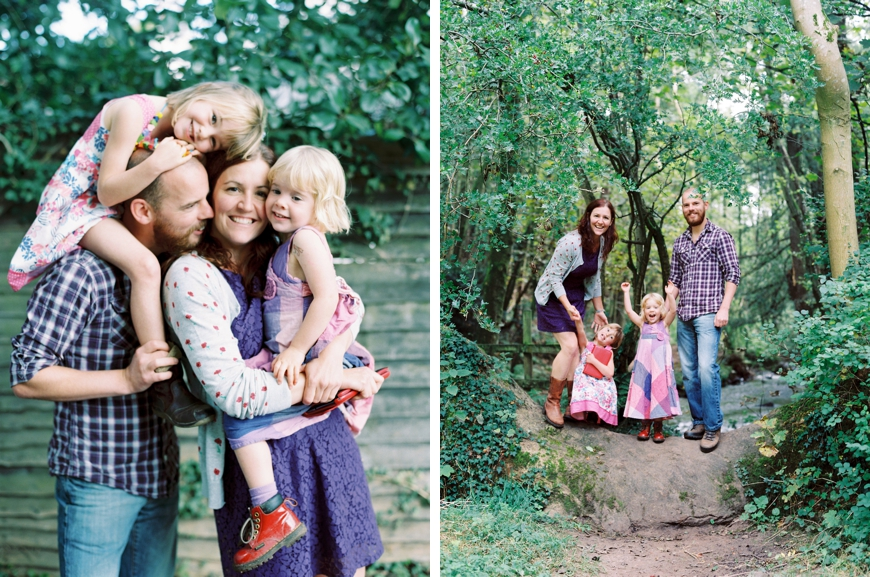 cutest family photo in purple plaid in forest by photographer molly mathcham
