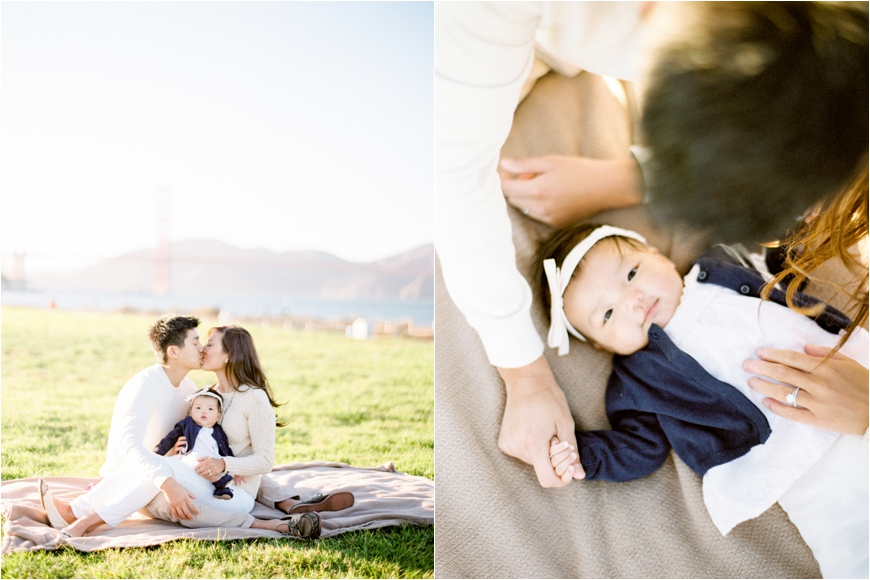 gorgeous images in natural light at san francisco bay of baby in blue jacket by photographer coco tran