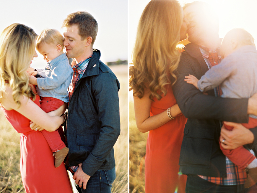 photographer jennifer tai's sun flare image on film of family of three in fields