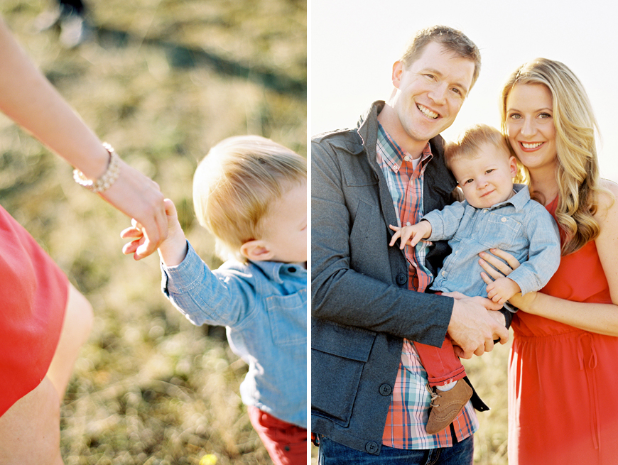 seattle photographer jennifer tai's gorgeous image of family of three in red and plaid in fields