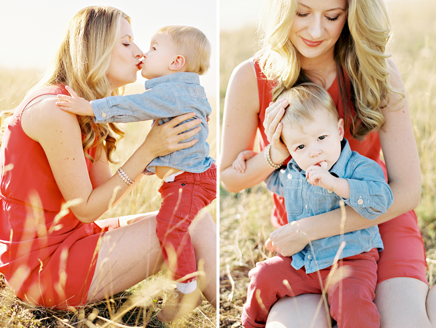 seattle photographer jennifer tai's image of pretty mom in red dress with son in red pants