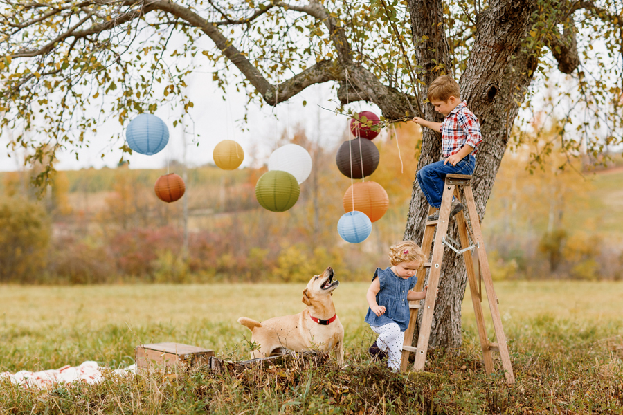tracey buyce saratoga ny family photographer's image of boy and girl on ladder with balloons