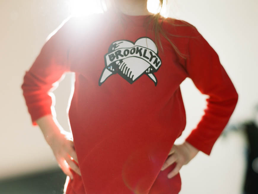 brooklyn heart red sweatshirt with sun flare image