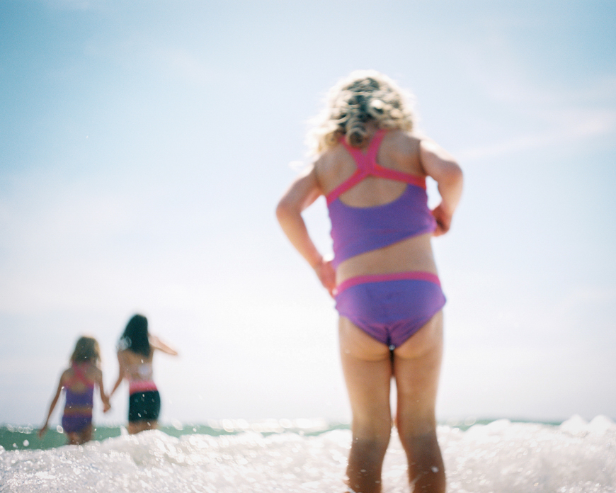 erin hughes image on color film of girl in purple bathing suit