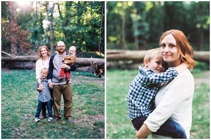 family portrait with checked shirt and corduroys in field