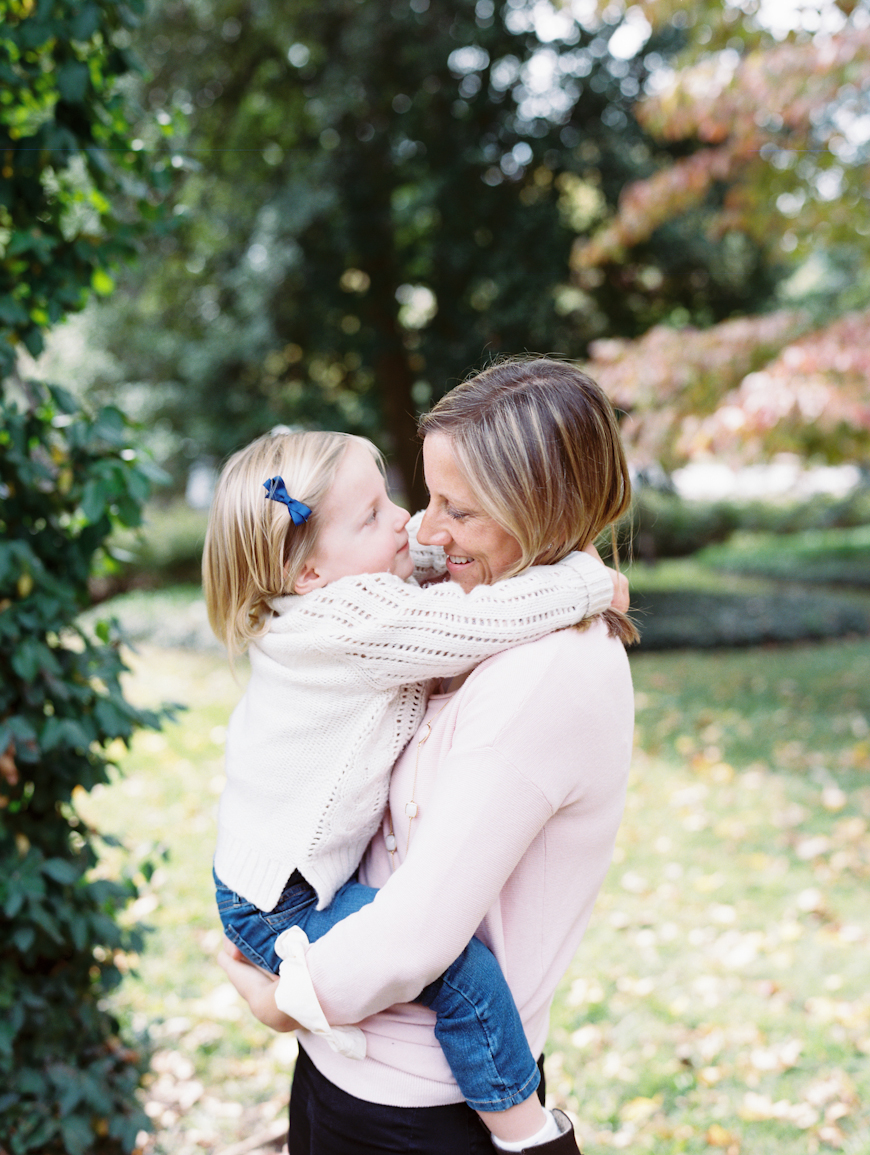 image of mom and daughter hugging shot on film