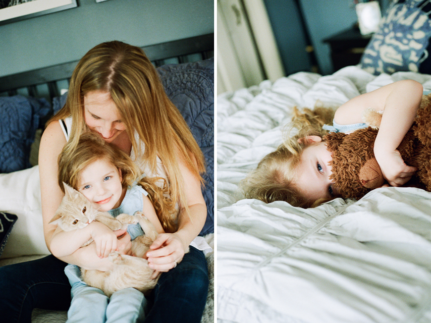 girl with cat and mom snuggling image by lalee photography