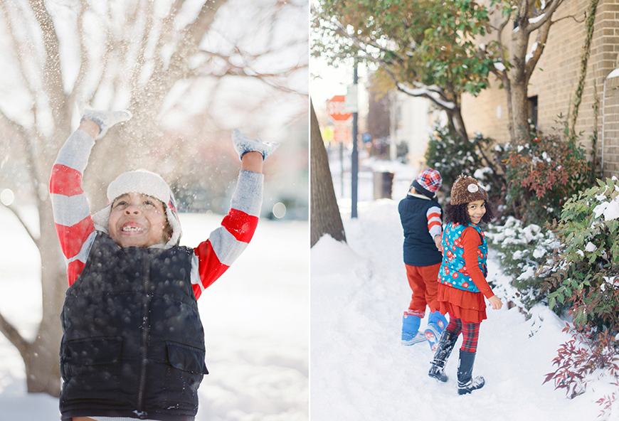 image of snowy kids with red and white stripe shirt in virginia by photographer audrey wrisler