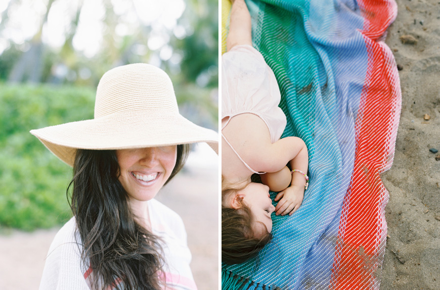 mom in straw hat and girl on rainbow blanket by maui photographer wendy laurel