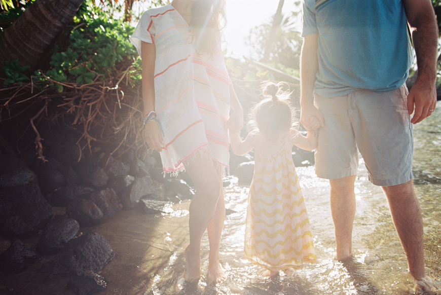 sunshine flare with family holding hands image