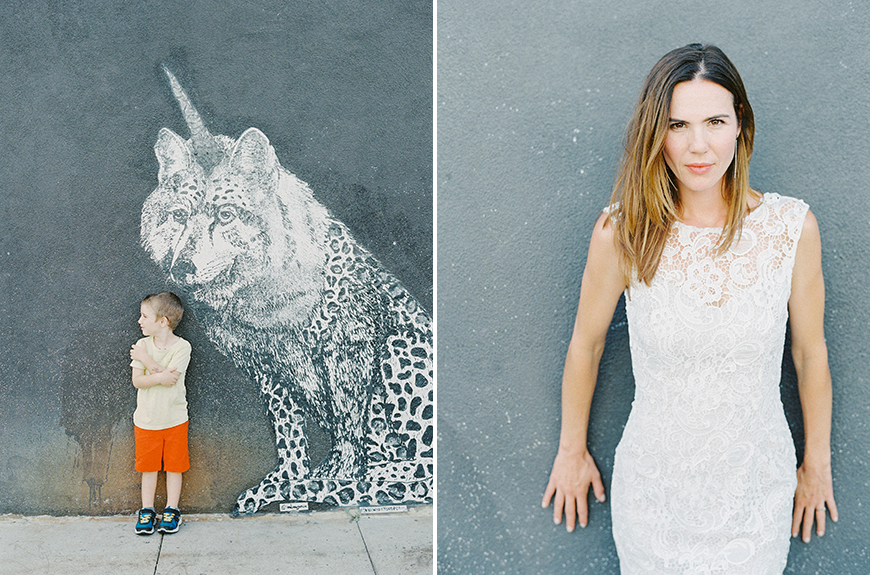 photo of little boy against unicorn hyena mural and mom on film by darcy benincosa