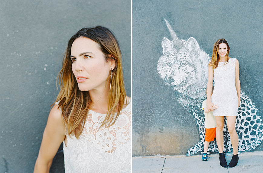 photo of portrait of mom against mural wall by darcy benincosa