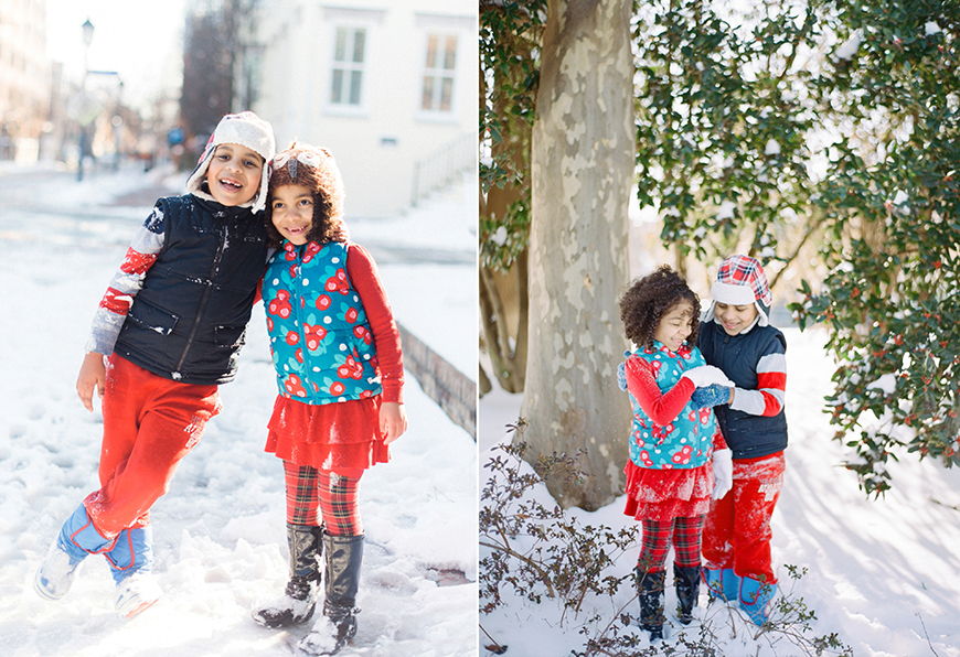 super cute sister and brother in viriginia in snow in red and blue snow outfits
