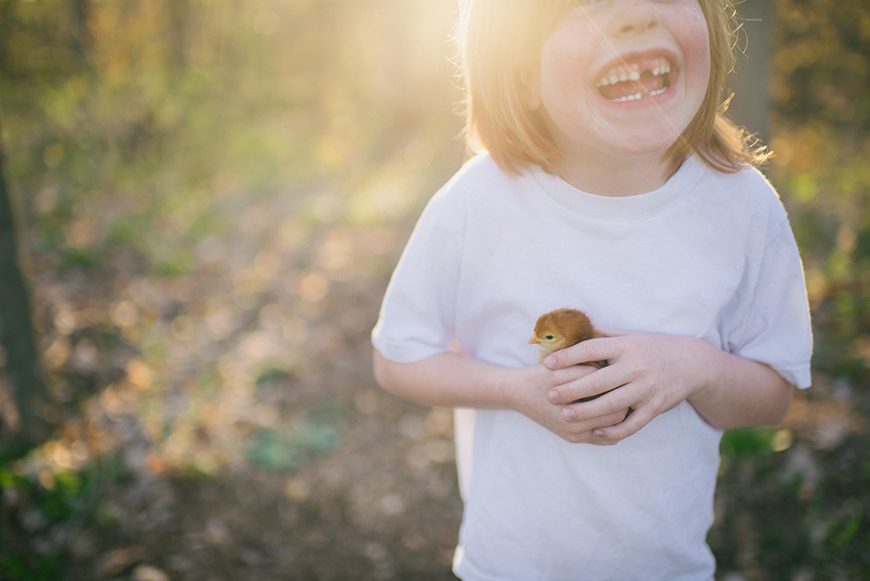 KelseaFehlen image of little boy holding chick in sunlight
