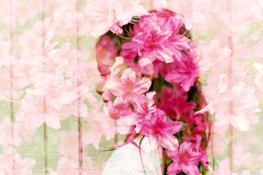 double exposure by lacey monroe photography of girl and pink flowers
