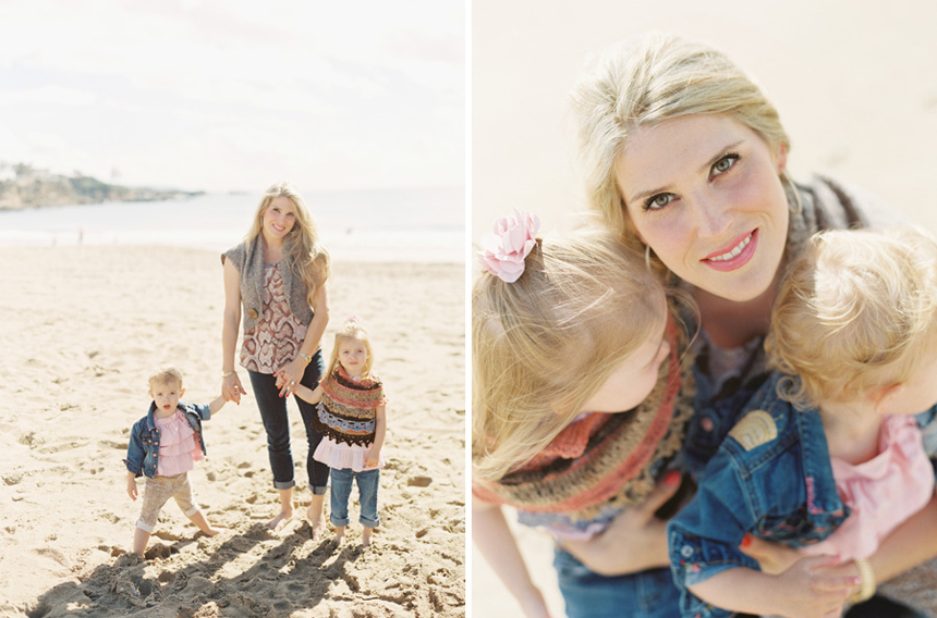 image of family on the beach with mom by victoria o'leary orange county