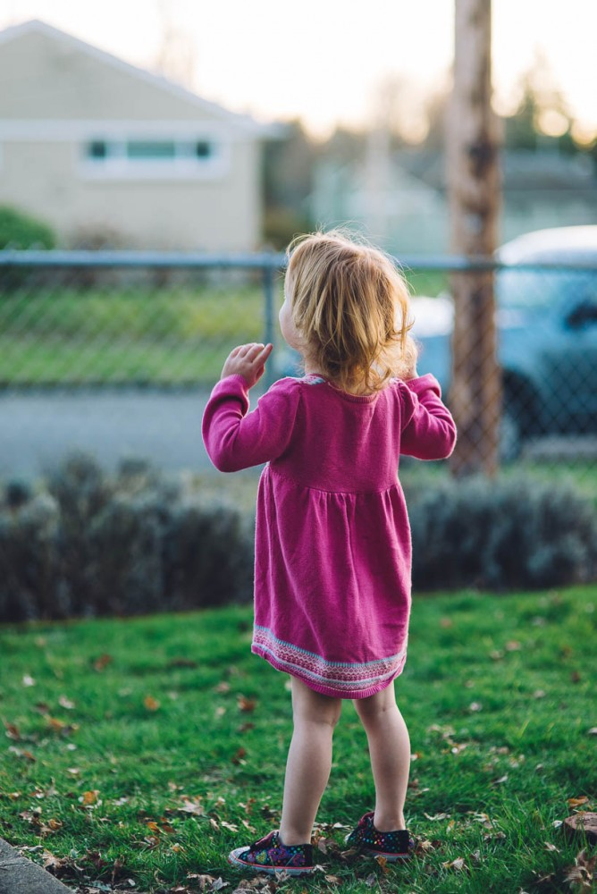 13 photo of young girl looking over fence in yard to street by devon michelle