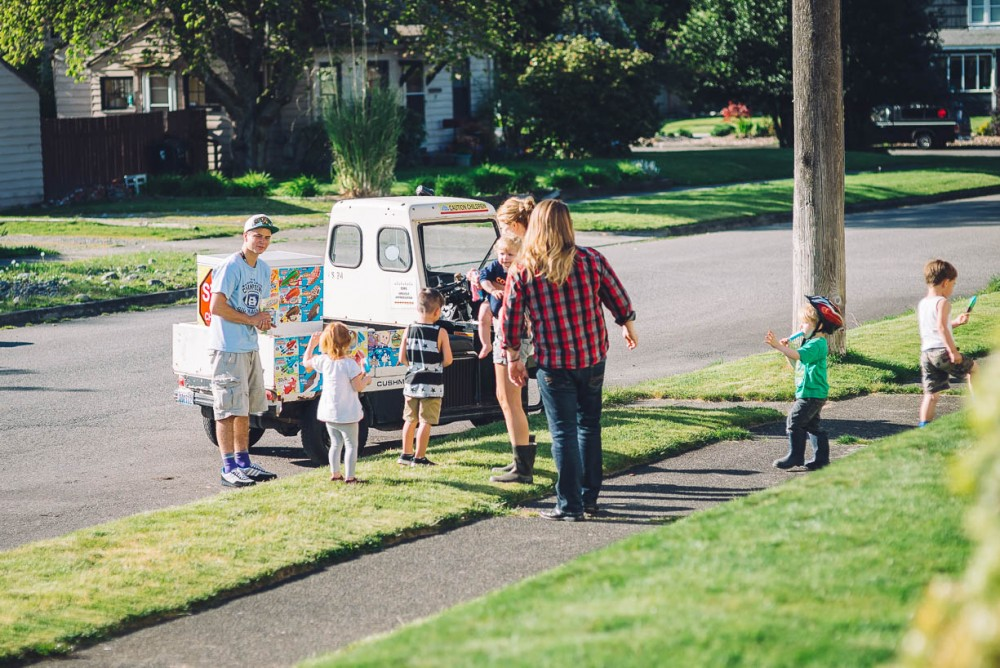 2 picture of ice cream truck with kids and parents in neighborhood by devon michelle