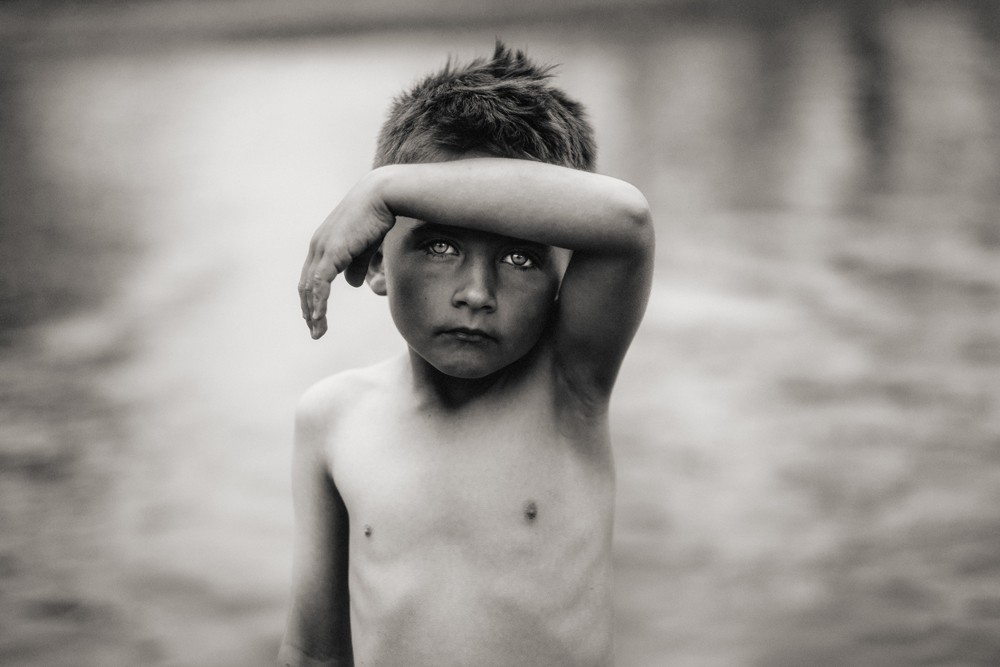 black and white image of boy by steve stanton