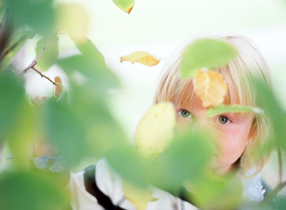 little blonde girl looking out through leaves by photographer samantha kelly