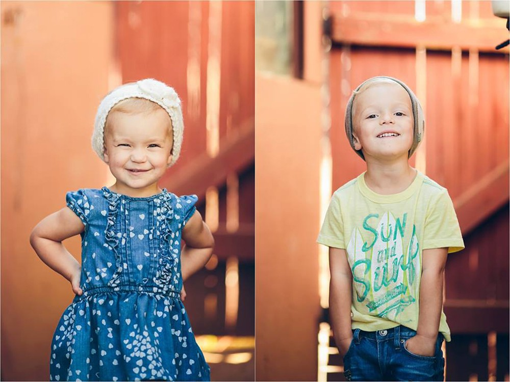 picture of a brother and sister with beanies by Tarah Sweeney