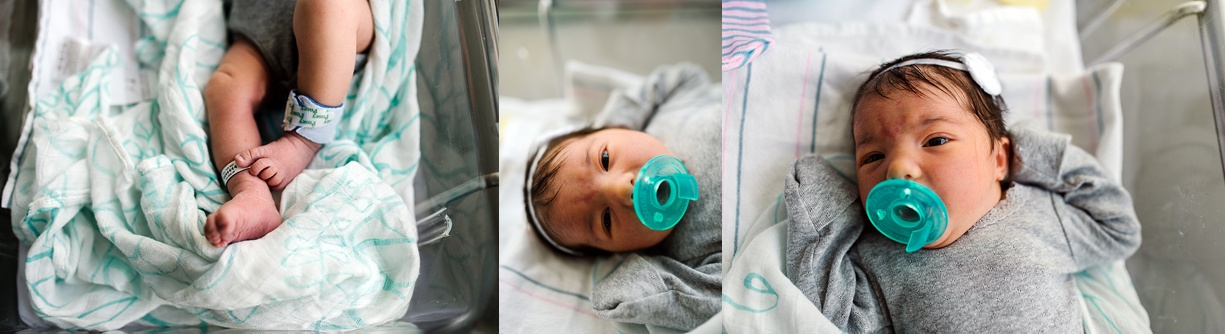 pictures of a newborn baby in a hospital bassinet by California photographer Bjorna Hoen