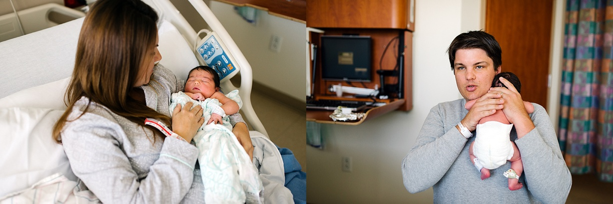 pictures of new parents holding their newborn by Southern California photographer Bjorna Hoen