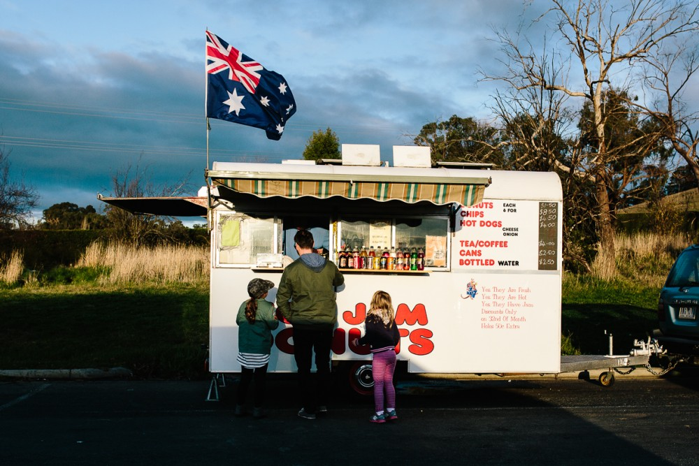 13 picture of father and children getting ice cream from truck Australia flag by Natasha Kelly