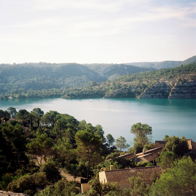 16 Sailboat on a lake in Provence France by international film photographer Lea Jones