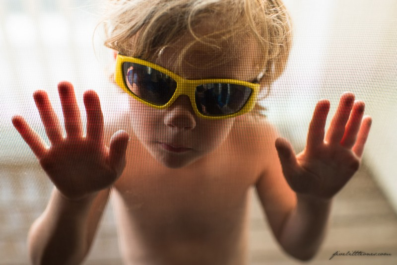 2 photo of young boy yellow sunglasses looking through screen door by erica collins