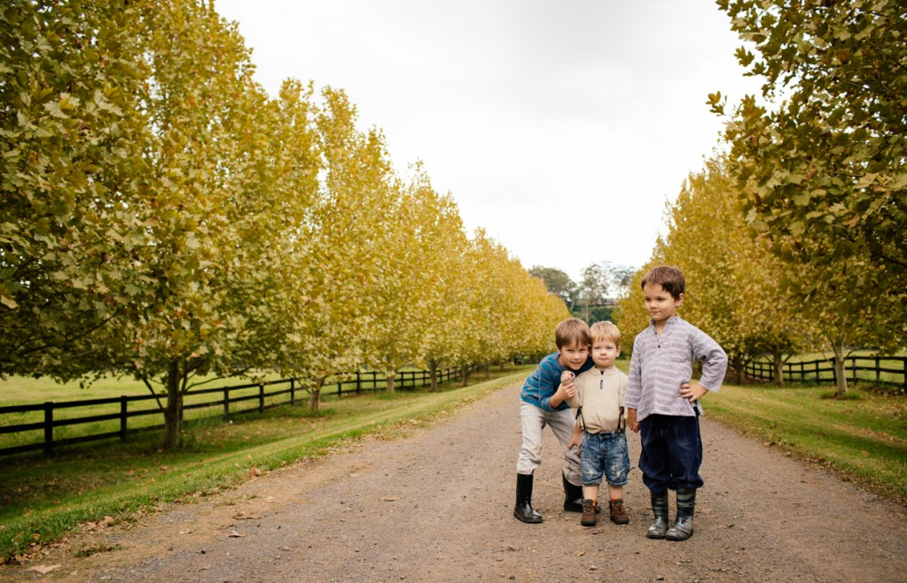 9 image of three young brothers on dirt road in autumn by sheridan nilsson